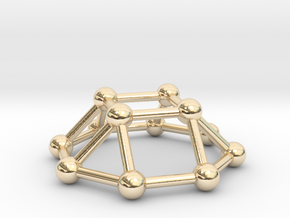 0730 J04 Square Cupola V&E (a=1cm) #3 in 14k Gold Plated Brass