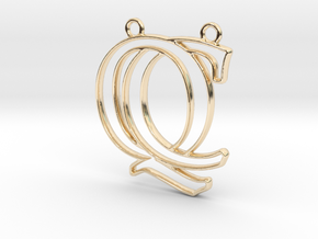 Initials C&Q monogram in 14k Gold Plated Brass