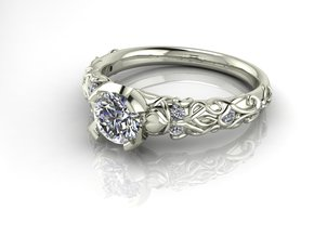 Classic Solitaire Art Deco NO STONES SUPPLIED in Fine Detail Polished Silver