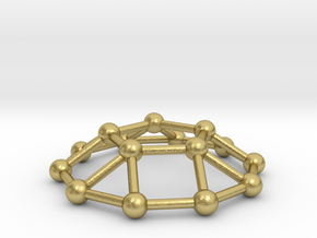 0733 J05 Pentagonal Cupola V&E (a=1cm) #3 in Natural Brass