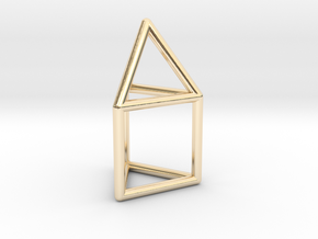 J07 Elongated Triangular Pyramid E (a=1cm) #1 in 14k Gold Plated Brass