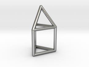 J07 Elongated Triangular Pyramid E (a=1cm) #1 in Natural Silver