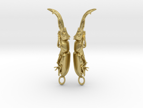 Stag Beetle Pendant - Closed Jaws  in Natural Brass
