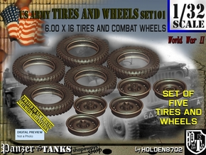 1/32 600x16 Tires+Wheels Set101 in Smooth Fine Detail Plastic