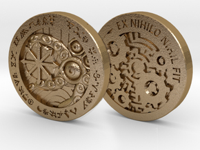 Law/Chaos Coin in Polished Gold Steel: Medium