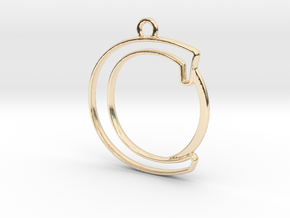 Initial C & circle  in 14k Gold Plated Brass