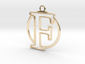 Initial F & circle  in 14k Gold Plated Brass