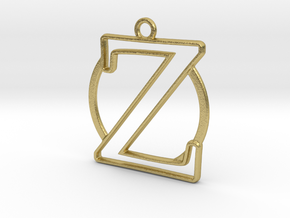 Initial Z & circle  in Natural Brass