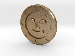 Golden Sun Coin in Polished Gold Steel