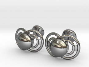 Pacifier Cufflinks in Polished Silver