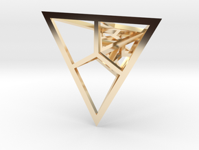 Fractal Pyramid - Pendant in 14k Gold Plated Brass