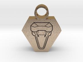 snake head pendant 2 in Polished Gold Steel