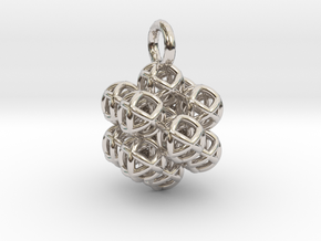 13 Vector Equilibrium Spheres Fractal - small in Rhodium Plated Brass