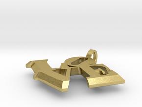 Love Sculpture pendant in Natural Brass