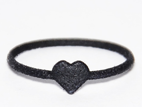 Knuckle Ring with heart, subtle and chic. in Black Strong & Flexible