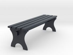 Miniature Park Wooden Bench in Black PA12: 1:12
