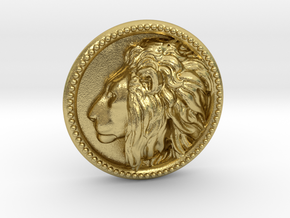 Lion Head Lapel Pin No.2 in Natural Brass