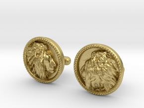 Lion Head Cufflinks No.2 in Natural Brass