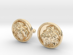 Lion Head Cufflinks No.2 in 14k Gold Plated Brass