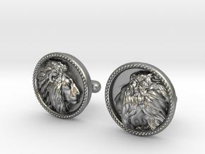 Lion Head Cufflinks No.2 in Natural Silver