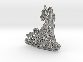 Dancing Couple 15mm Metal  in Natural Silver