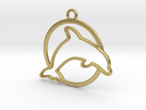 Dolphin & circle intertwined Pendant in Natural Brass