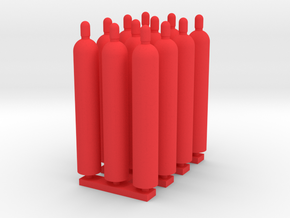 1:64 Gas Cylinders Pack of twelve  in Red Processed Versatile Plastic