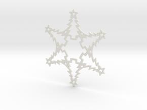 Christmas Tree Snowflake Ornament in White Natural Versatile Plastic