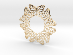 Monarch Butterfly Snowflake Ornament in 14k Gold Plated Brass