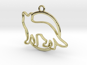 Fox & circle intertwined Pendant in 18k Gold Plated Brass