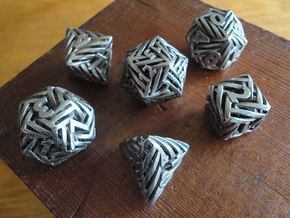 Helix Dice Set in Polished Bronzed-Silver Steel