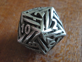 Helix d20 in Polished Bronzed-Silver Steel