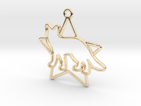 Fox & star intertwined Pendant in 14k Gold Plated Brass