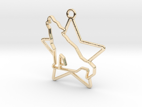 Wolf & star intertwined Pendant in 14k Gold Plated Brass