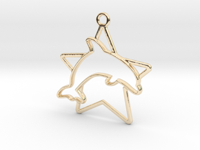 Dolphin & star intertwined Pendant in 14k Gold Plated Brass