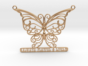 Inspiring Lively Butterfly Pendant in Polished Bronze