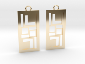 Geometrical earrings no.3 in 14k Gold Plated Brass: Small