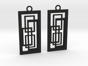 Geometrical earrings no.2 in Black Natural Versatile Plastic: Small