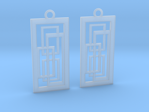 Geometrical earrings no.2 in Smooth Fine Detail Plastic: Small