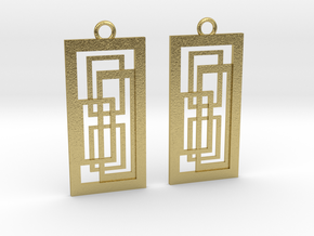 Geometrical earrings no.2 in Natural Brass: Small