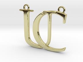Initials C&U monogram in 18k Gold Plated Brass