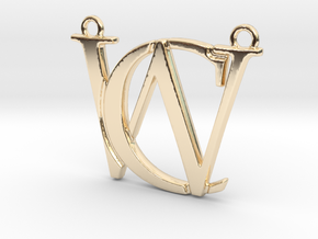 Initials C&W monogram in 14k Gold Plated Brass