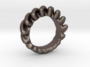 Creeping Sound Ring in Polished Bronzed-Silver Steel