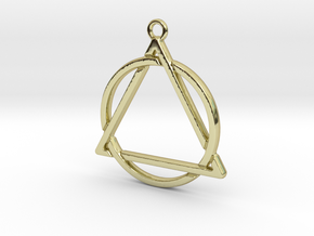 Circle and triangle intertwined in 18k Gold Plated Brass