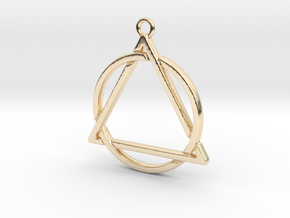 Circle and triangle intertwined in 14K Yellow Gold
