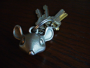 Mouse-head keychain in Polished Bronzed Silver Steel