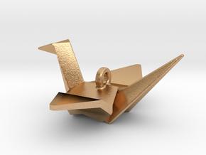Origami Crane Pendant in Natural Bronze
