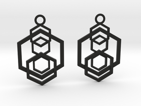 Geometrical earrings no.5 in Black Natural Versatile Plastic: Small