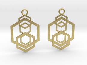 Geometrical earrings no.5 in Natural Brass: Small