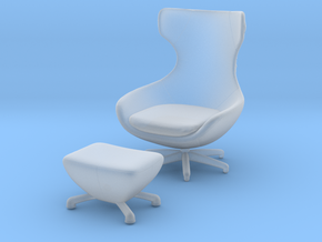 Miniature Caruzzo Leather Armchair - Leolux  in Smooth Fine Detail Plastic: 1:12